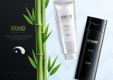 Bannière publicitaire horizontale de bouteilles de cosmétiques pour hommes avec le nom de l'illustration vectorielle de titre de marque