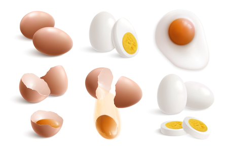 Isolated hen eggs realistic icon set with boiled fried eggs eggshell and yolks vector illustration