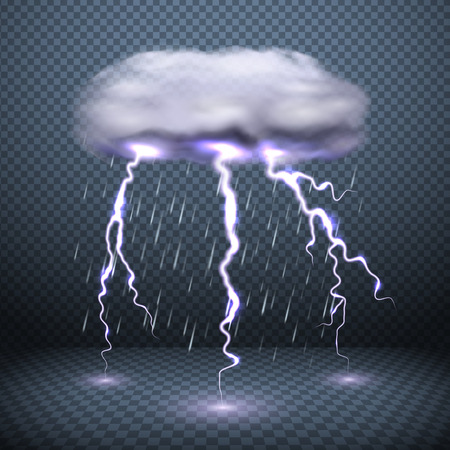Fond transparent foncé avec des éclairs de nuages orageux et illustration vectorielle réaliste de pluie tombante