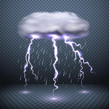 Sfondo trasparente scuro con fulmini di nuvole tempestose e illustrazione vettoriale realistica di pioggia che cade
