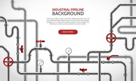 Industrielle Stahlrohrleitung mit realistischer Hintergrundvektorillustration der roten Hähne Vektorgrafik