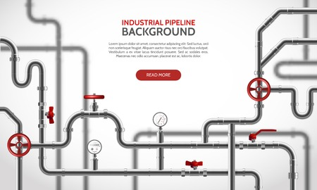 Industrial steel pipeline with red faucets realistic background vector illustration Illustration