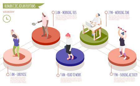 Isometrische Infografiken der menschlichen zirkadianen Rhythmen mit Frühaufsteher-Gebühren für den Weg zur Arbeit Arbeitszeit und abendliche Aktivitätsbeschreibungen Vektorillustration