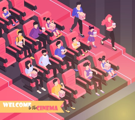 Isometric movie cinema composition background with indoor view of movie theater auditorium with chairs and audience vector illustration Ilustração