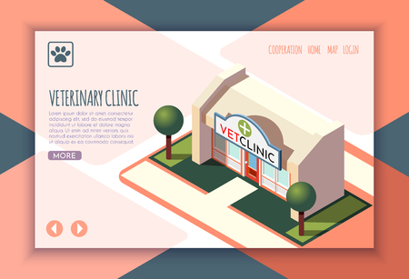 Ordinary life of man and his dog isometric landing page with veterinary clinic headline and links vector illustration