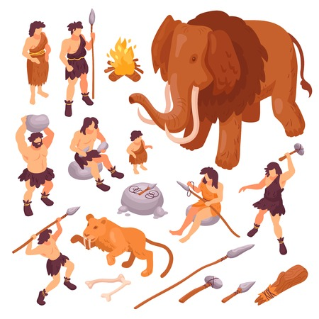 Isometric set of icons with primitive people their weapons and ancient animals isolated on white background 3d vector illustration Çizim