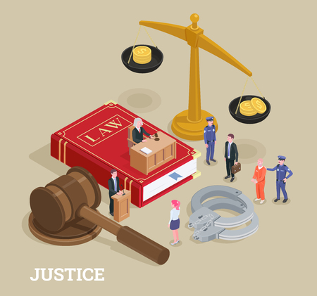 Law justice isometric conceptual composition with small people characters and huge icons process of law symbols vector illustration