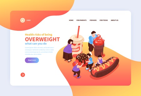 Isometric overeating gluttony website page design background with images of harmful food people links and text vector illustration
