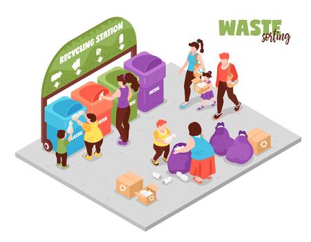 Persone che hanno uno stile di vita zero rifiuti e smistano i rifiuti alla stazione di riciclaggio 3d isometrica illustrazione vettoriale vector
