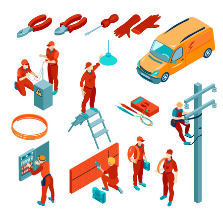 Isometric set of icons with electrical tools and electricians at work isolated on white background 3d vector illustration