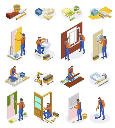 Home repair isometric icons set of tools and craftspeople performing  laying tiles pasting wallpapers doors and window installation isolated vector illustration Illustration