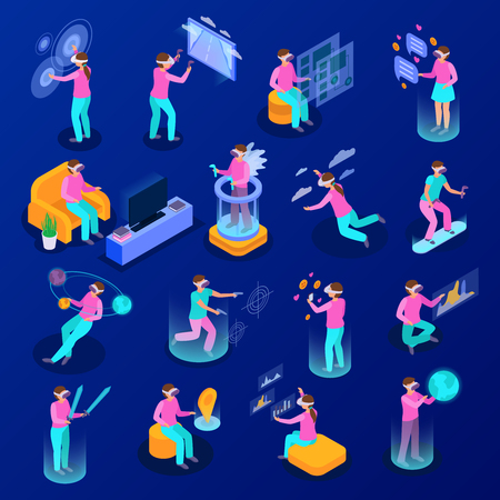 Big set of isometric icons with people using various augmented reality devices isolated on blue background 3d vector illustration Ilustração