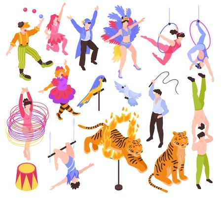 Izometryczne cyrkowcy artyści aktorzy pokazują zestaw z odizolowanymi ludzkimi postaciami i zwierzętami na pustym tle ilustracji wektorowych Ilustracje wektorowe