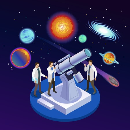 Astrophysics round isometric composition with astronomers observing planets meteorites galaxies with optical telescope starry background vector illustration 일러스트