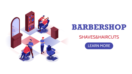 Isometric horizontal banner with stylists doing haircut and shaving beard in barbershop 3d vector illustration Standard-Bild - 119846510