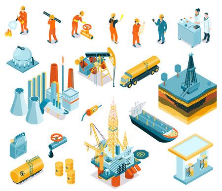 Conjunto de iconos de trabajadores de la industria petrolera isométrica aislada con empleadores que trabajan en la ilustración de vector de fábrica