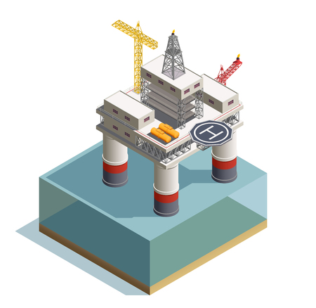 Raw oil extraction from under the sea bed deposits isometric composition with drilling rig platform vector illustration Illustration