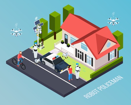 Robot isometric professions composition with piece of earth and robot policeman description vector illustration