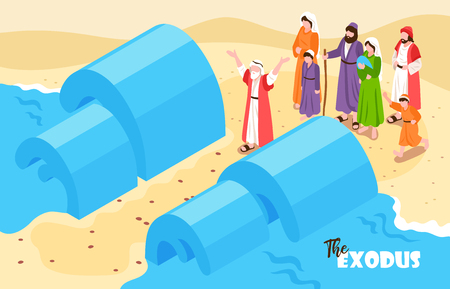 Isometric bible narratives horizontal composition with text and noahs flood scenery with water and people characters vector illustration Stock Vector - 119642045