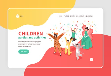 Children dancing at costume party with animator isometric banner 3d vector illustration