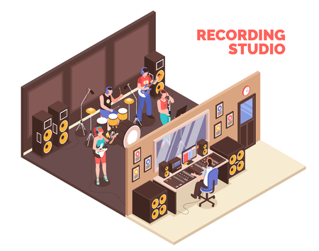 Band playing musical instruments and singing in recording studio 3d isometric vector illustration