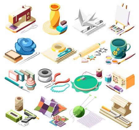 Icone isometriche di artigianato di hobby messe con gli strumenti per cucire la pittura della ceramica che cucina l'illustrazione di vettore isolata 3d della rappezzatura di origami