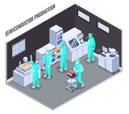 Semicondoctor production composition with technology and laboratory symbols isometric vector illustration Çizim
