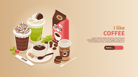 Horizontal isometric banner with cup and glasses of hot coffee with whipped cream biscuits and topping 3d vector illustration Illustration