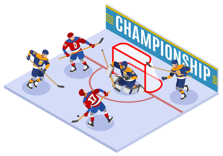 Hockey championship isometric composition with forward slapshot scoring and protecting net goaltender in goal crease  vector illustration