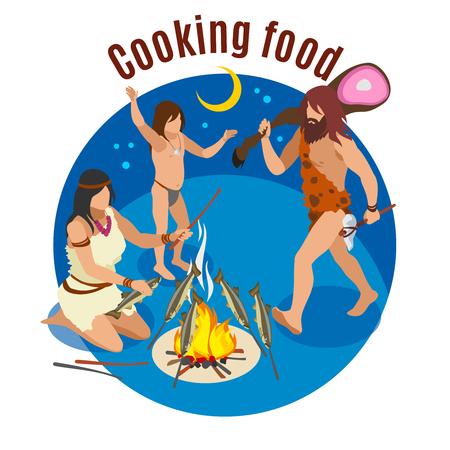 Concept isométrique de cuisson de l'âge de pierre avec illustration vectorielle de symboles alimentaires Vecteurs