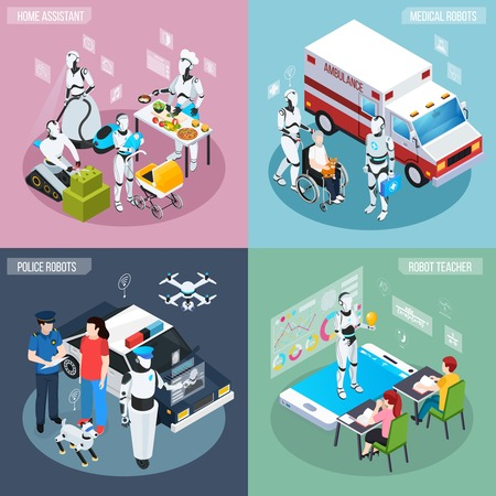 Four robot isometric professions icon set home assistant medical and police robots and teacher descriptions vector illustration Иллюстрация