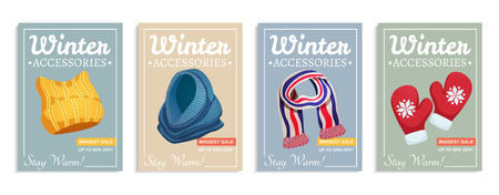 Seasonal winter scarf hats poster set of four vertical compositions with ornate text and clothes images vector illustration