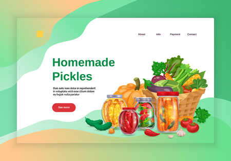 Pickles concept banners website landing page design with images text and clickable links with more button vector illustration