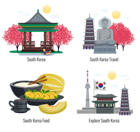 Four south korea tourism compositions with text captions and images of traditional food buildings and memorials vector illustration Vector Illustration