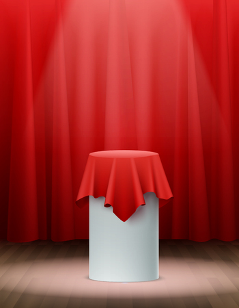 Presentation red silk cloth on stage realistic background vector illustration