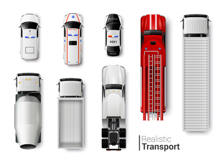 Ilustración de vector aislado conjunto realista de vista superior de vehículos especiales