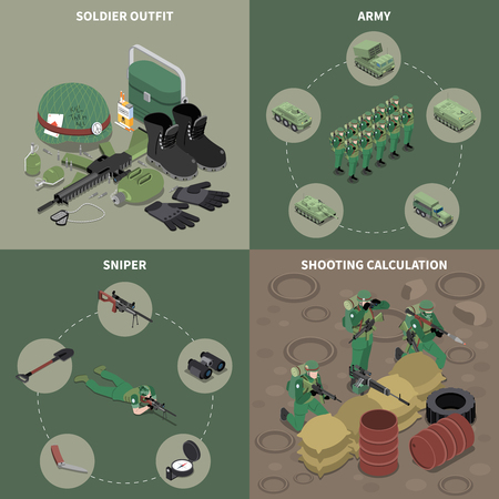 Army 2x2 design concept set of sniper soldier outfit shooting calculation square icons isometric vector illustration Illustration