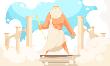 Greece ancient gods flat cartoon image of powerful mythological zeus prominent figure in pantheon background vector illustration Illustration