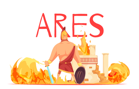 Ancient greece olympian god of war ares in helmet with sword amidst battle flat cartoon vector illustration