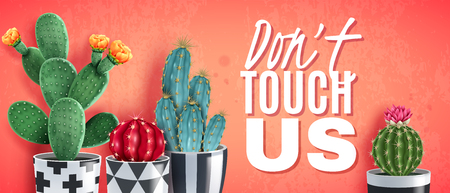 Blooming cacti varieties in ornamental black white pots against trendy coral background realistic horizontal poster vector illustration