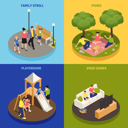 Family playing concept icons set with picnic and video games symbols isometric isolated vector illustration 일러스트