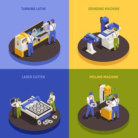 Iconos de concepto de maquinaria industrial establecidos con símbolos de fresadora ilustración vectorial aislado isométrico