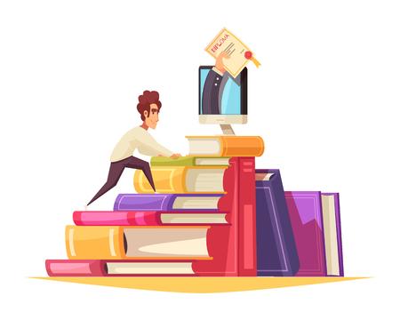 Composición de dibujos animados de cursos en línea con estudiantes graduados que suben la pila de libros de texto para obtener un diploma de la ilustración de vector de monitor