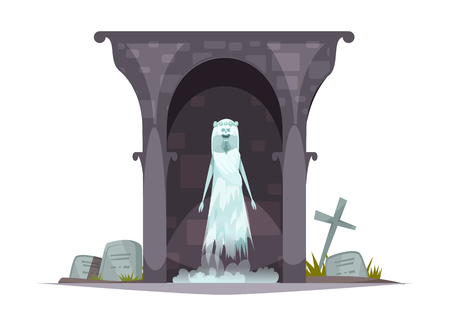 Evil graveyard specter cartoon character composition with scary ghost appearance in grim haunted cemetery tomb vector illustration