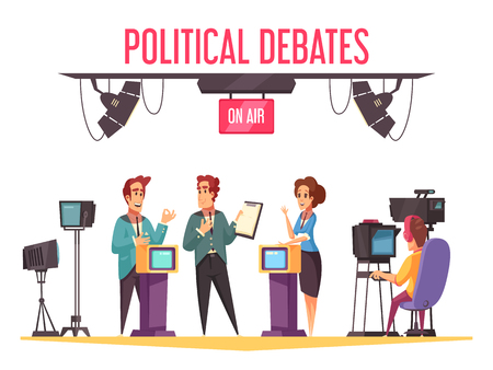 TV live political debates show with campaign participants presenting programs and confronting opponents cartoon composition vector illustration Çizim