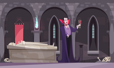 Vampire in purple cloak drinking blood from wineglass in burial vault with tomb skeletons flat vector illustration Illustration