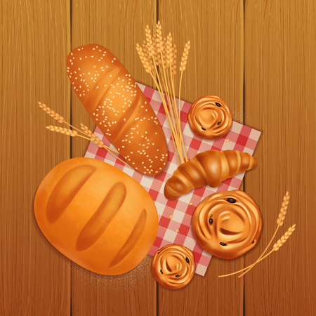 Colored realistic bread bakery composition with croissant bread and buns on wooden table vector illustration