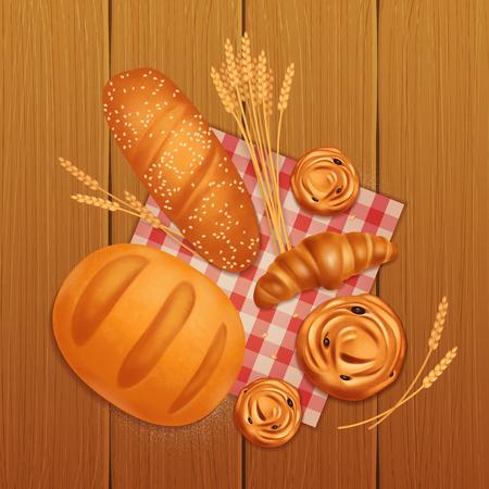 Composition de boulangerie de pain réaliste coloré avec du pain croissant et des petits pains sur une illustration vectorielle de table en bois Vecteurs
