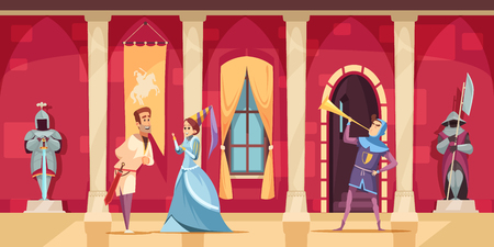 Medieval castle hall interior flat carton composition set with lord lady horn blower armed guards vector illustration