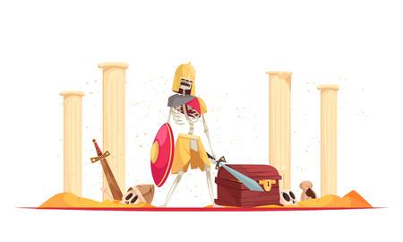 Guerrier féroce méchant dans le casque apportant la mort de destruction avec l'épée de bouclier parmi l'illustration de vecteur de composition de dessin animé de ruines Vecteurs